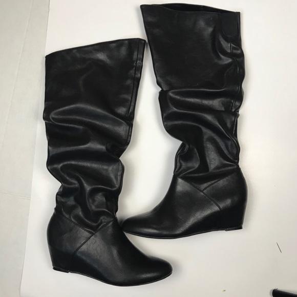 Kohls Shoes | Black Leather Wedge Boots